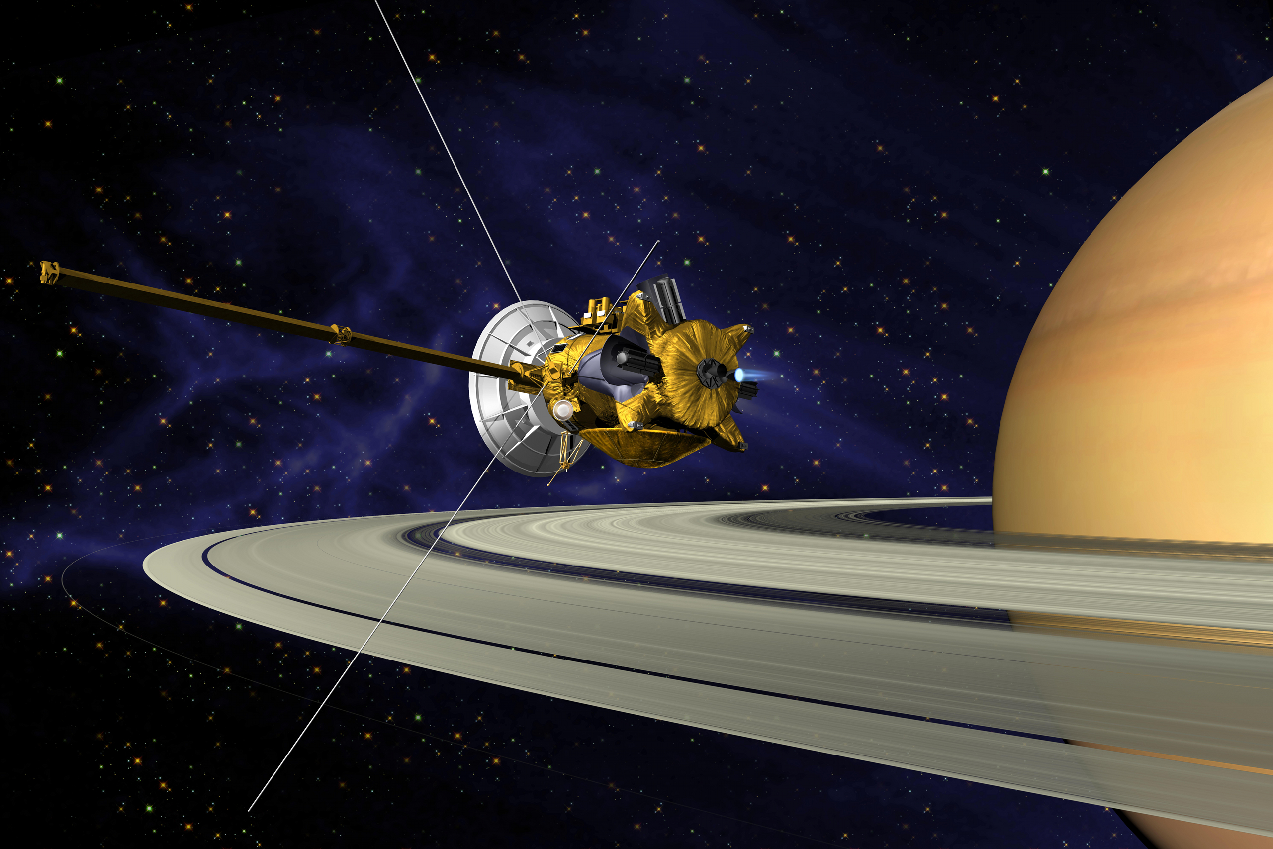 What was the name of this spacecraft which was launched by collaboration with NASA,  ESA, ASI to study about Saturn and its planet in  1997?