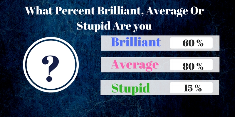 What percent brilliant average or stupid are you