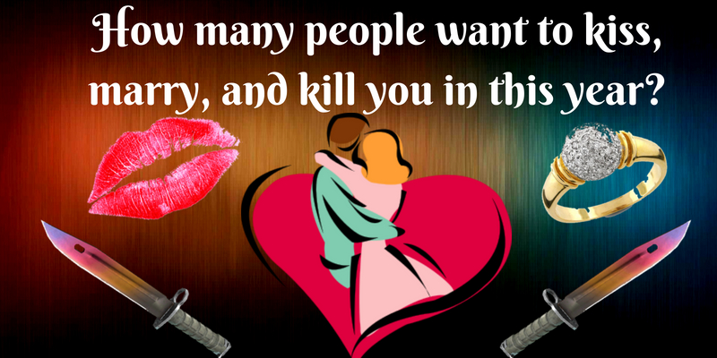How many people want to kiss, marry, and kill you this year?